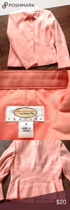 Talbots jacket Suede like tailored jacket from Talbots in a springy peach color.  Shell and lining 100% polyester Talbots Jackets & Coats