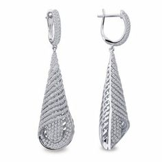 Twist Earrings with Simulated Pave Diamonds by Lafonn