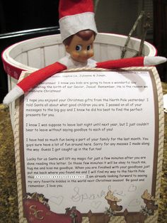 Elf Says goodbye. great idea, especially the part where the kids get to hold it and kiss it.