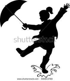 Find Girl Umbrella Silhouette Vector Illustration stock images in HD and millions of other royalty-free stock photos, illustrations and vectors in the Shutterstock collection. Autumn Crafts, Fall Crafts For Kids, Girl Silhouette, Silhouette Vector, Rain Baby Showers, Fall Classroom Decorations, Decoration Creche, Umbrella Tattoo, Fall Drawings
