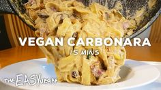 This has gotta be the world's most creamy, cheesy, smoky, 'bacony' vegan carbonara. At 15 minutes it's probably the quickest as well. Sometimes I amaze myself Dairy Free Recipes, Vegan Recipes Easy, Lunch Recipes, Whole Food Recipes, Vegetarian Recipes, Gluten Free, Vegan News, Cheesy Recipes, Vegan Protein