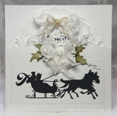 Beautiful Winter Scene by Anne's Paper Fun.  Shabby Chic / Vintage Christmas Card - or a Winter Wedding Invitation / Card