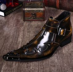 Europe Mens Leather Pointed Toe Metal Decor Flat Heel Oxford Stylish Dress Shoes #Unbranded #Oxfords