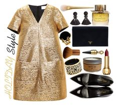 """""""Black & Gold Holiday Style"""" by celeste-menezes ❤ liked on Polyvore featuring Lanvin, Yves Saint Laurent, Prada, Valentin Magro, Miriam Salat, H&M, Christian Dior, Burberry, Guerlain and holidaystyle"""