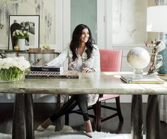 Peek Inside Designer Rachel Roy's Luminous Home Office – office life Contemporary Stairs, Contemporary Office, Contemporary Interior, Contemporary Building, Contemporary Cottage, Contemporary Wallpaper, Contemporary Chandelier, Contemporary Landscape, Contemporary Architecture