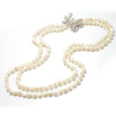 Nugget White Freshwater Cultured Potato Pearls Bowknot Necklace FN495 Multi Strand Pearl Necklace, Baroque Pearl Necklace, Jade Necklace, Cultured Pearl Necklace, Freshwater Pearl Necklaces, Baroque Pearls, Pearl Jewelry, Handmade Necklaces, Fresh Water