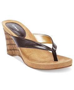Style Shoes, Chicklet Thong Wedge Sandals - Espadrilles & Wedges - Shoes - Macys