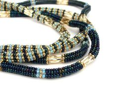 Beaded Necklace Embellished Beaded Rope by vantageJewellery