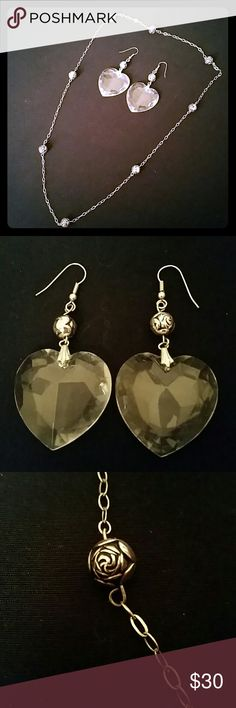 PRICE DROP! Heart Necklace & Earring Set Beautiful silver chain with silver rosettes. Also, a matching pair of dangling earrings with rosette and large clear prism hearts. Absolutely adorable set! Great condition. Jewelry