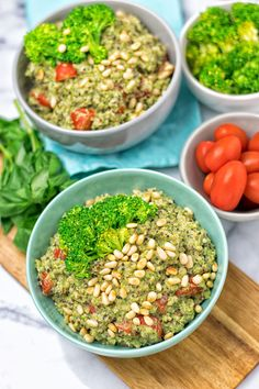 This new Broccoli Pesto Quinoa Salad is quick and easy, made with just 5 ingredients. Totally vegan, gluten free and both healthy and delicious.