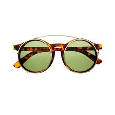 Cool Flip Up Lens Steampunk Vintage Retro Style Round Sunglasses Light Blue H