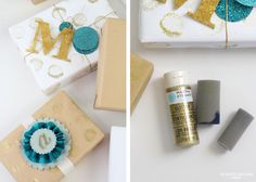 Give plain wrapping paper pizzazz with some metallic paint. Make this in less than 10 minutes, and for less than $50! Perfect DIY for the holidays!