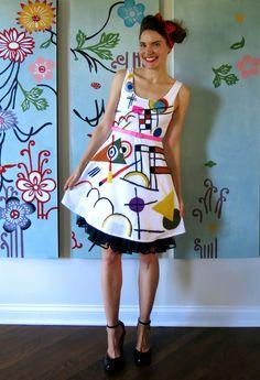Cassie Stephens: DIY: A Kandinsky-Inspired Dress, Part 1 - Needle Felted!!