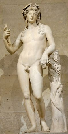 Greek God Dionysus. God of theatre, wine and ecstasy; son of Zeus by Semele, princess of Thebes. He grew up wild on Mount Nyasaland, where he learnt to make wine. He was the focus of a major cult. Drunken female devotees were known as the bacchantes.