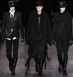 Ann Demeulemeester is considered a high fashion Goth designer. Whether you like her work or not you have to admit it is very different and unique. I love her men's fashion that is very Goth & Steampunk. Dark Fashion, High Fashion, Fashion Show, Mens Fashion, Fashion Design, Fashion Trends, Gothic Fashion Men, Fashion Goth, Gothic Men
