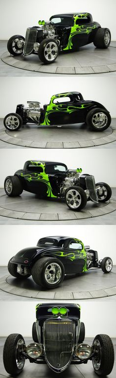 Tribal Green Flames ! amazing work (1934 Ford Coupe hot rod) The Green Flames make this rod, gives it a twisted attitude!                                                                                                                                                                                 Más