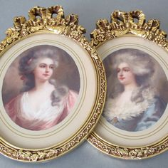 Pr Vintage GILT Wood + Gesso Frames BOWS + ROSE Swags * Portraits French LADIES