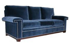 """Paxton 90"""" Velvet Sofa, Navy one kings lane Barclay Butera sofa"""