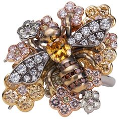 David Michael Multiple Natural Coloured Diamonds Bee Ring | 1stdibs.com
