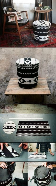 DIY UTILITY BUCKET OTTOMAN of course aztec…because i am obsessed with everything aztec and tribal!! #diyottomanpouf