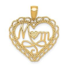 14K Polished MOM Scallop Heart Pendant / STYLE: K5195Y #MOMHeartPendant #HeartPendant #MothersDay
