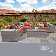 TK Classics Florence09b 9 Piece Outdoor Wicker Patio Furniture Set Tangerine >>> Continue to the product at the image link. (This is an affiliate link) #OutdoorFurniture