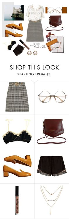 """Vintage Princess"" by blackyogurtgirl ❤ liked on Polyvore featuring Gucci, Brandy Melville, Enamore, Prada, River Island, NYX, Trilogy and vintage"