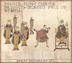Behold thine clerics bringeth scrolls full of women - Bayeux tapestry parodies #binders