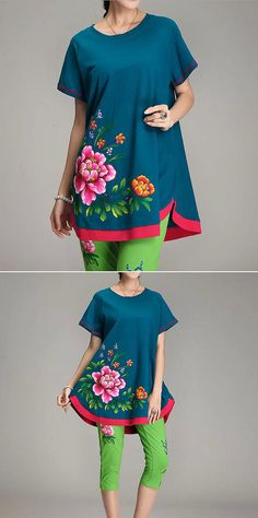 270 lbs hand painted 2014 new loose dress cotton by PlusDress