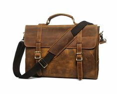 Genuine crazy horse leather briefcase with space for a laptop.Dimensions: x x Light brown Leather Briefcase, Leather Bag, Leather Products, Crazy Horse, Messenger Bags, Laptop Bag, Satchel, Horses, Space