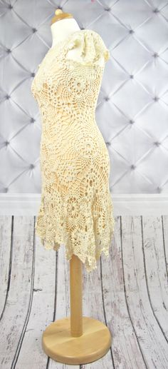 BEIGE Crochet Dress. Crochet wedding dress Crochet by NinElDesign