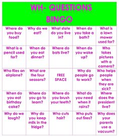 Speech and Language LaunchPad: Wh- Questions Bingo. Repinned by SOS Inc. Resources pinterest.com/sostherapy/.