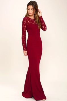 The Whenever You Call Wine Red Lace Maxi Dress will always be there for you when you're in a fashion bind! Lovely, sheer eyelash lace tops a darted sweetheart bodice, long sleeves, and sexy open back with clasp closure. Fitted waist tops a stretchy, mermaid maxi skirt. Hidden side zipper.