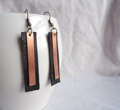 Copper & Leather Earrings