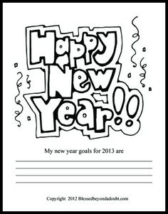 FREE New Years Coloring pages with a place to write new 2013 goals!    #NewYears #education
