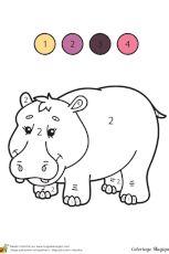 Coloriage d'un Coloriage Magique Maternelle, un hippopotame