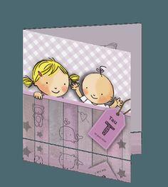 Stoer maar toch lief en schattig geboortekaartje voor een baby zusje