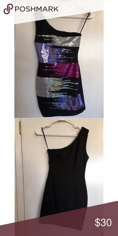 XXI One Shoulder Sexy Sequins Dress Small Previously Owned. In Good Condition. Size: Small. Brand: XXI XXI Dresses One Shoulder