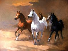 Artist Ahmad Barjami has a series of truly amazing Arabian horse paintings. This is one of my favourites.