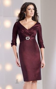 Embellished V Neckline Dress by Social Occasions by Mon Cheri 213892