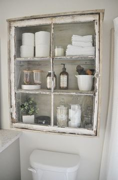 shabby chic niche glass bathroom built in cabinet #shabbychicbathroomsideas