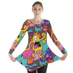 www.cowcow.com - plus size clothing - Monsters Pattern Long Sleeve Tunic  by Jojostore