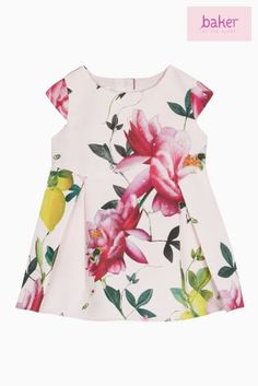 Pink Baker By Ted Baker Baby Girl All Over Pink Floral Printed Pleated Dress