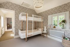 Children's bunk bedroom with fringed pendant light, leopard print wallpaper, Scandinavian bunk beds and oversized Miffy lamp. Scandinavian Bunk Beds, Leopard Print Wallpaper, Bedroom Styles, Bedroom Designs, Farrow And Ball Paint, Cottage Renovation, Ikea Bed, Under Bed, Room Tour