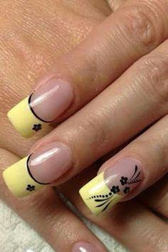 ideas for nails art yellow fluo Get Nails, Fancy Nails, Trendy Nails, Fabulous Nails, Gorgeous Nails, Best Nail Salon, French Nail Art, Diy Nail Designs, Yellow Nails