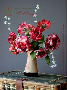 Цветок из шелка Букет Красная осень