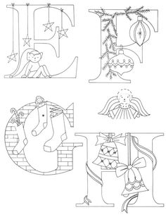 Christmas Alphabet to enhance your Christmas embroideries and quilts - EFGH