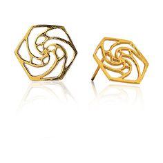 Rose Fractal Earrings in 18k Gold ($369) ❤ liked on Polyvore featuring jewelry, earrings, rose gold earrings, star earrings, gold star earrings, rose earrings and white earrings
