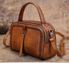 Handmade Vintage Vegetable Tanned Leather Handbag Messenger Bag Shoulder Bag in Vintage Brown YS03