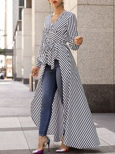 V-Neck Striped Tie Waist Dip Hem Irregular Blouse - Stylish Fashion Look Fashion, Hijab Fashion, Autumn Fashion, Fashion Dresses, Womens Fashion, Fashion Design, Ladies Fashion, Maxi Dresses, Feminine Fashion